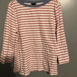 white and red striped long sleeve